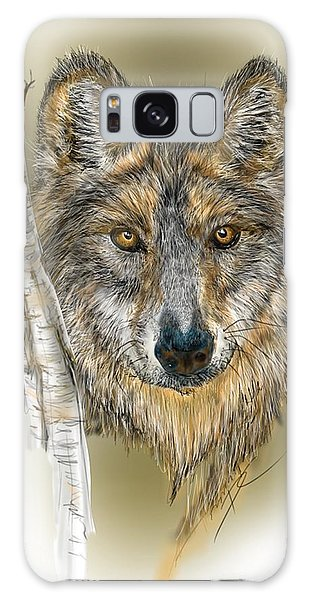 Dark Wolf With Birch Galaxy Case