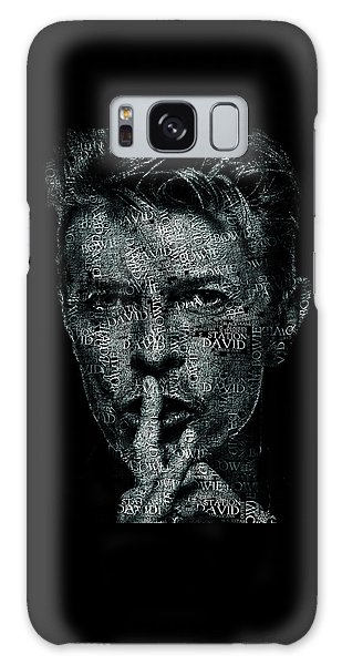 Glam Rock Galaxy Case - David Bowie Text Portrait - Typographic Face Poster Created With All The Album Titles By David Bowie by JESP Art and Decor
