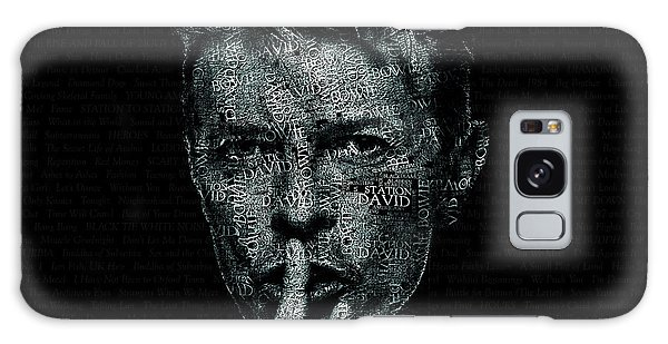 Glam Rock Galaxy Case - David Bowie Text Portrait - Typographic Poster With Album Titles And Background With Songs Names by JESP Art and Decor