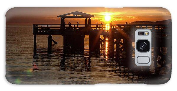 Davis Bay Pier Sunset Galaxy Case