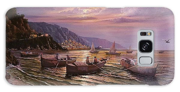 Galaxy Case featuring the painting Day Ends On The Amalfi Coast by Rosario Piazza