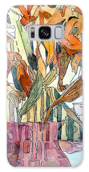 Day Lilies In A Rose Vase Galaxy Case by Mindy Newman