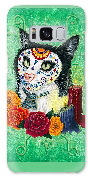 Galaxy Case featuring the painting Day Of The Dead Cat Candles - Sugar Skull Cat by Carrie Hawks
