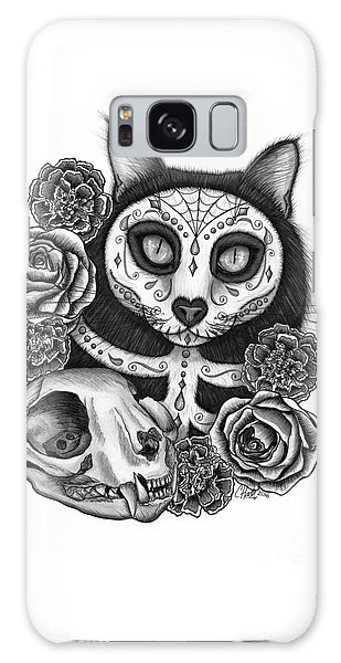 Galaxy Case featuring the drawing Day Of The Dead Cat Skull - Sugar Skull Cat by Carrie Hawks