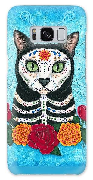 Galaxy Case featuring the painting Day Of The Dead Cat - Sugar Skull Cat by Carrie Hawks