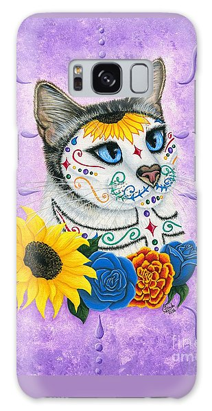Galaxy Case featuring the painting Day Of The Dead Cat Sunflowers - Sugar Skull Cat by Carrie Hawks