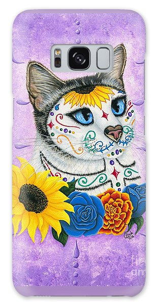 Day Of The Dead Cat Sunflowers - Sugar Skull Cat Galaxy Case