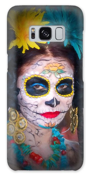 Day Of The Dead Flower Lady Galaxy Case