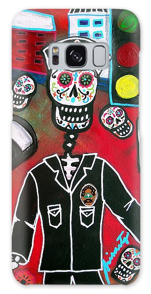 Day Of The Dead Policeman Galaxy Case by Pristine Cartera Turkus