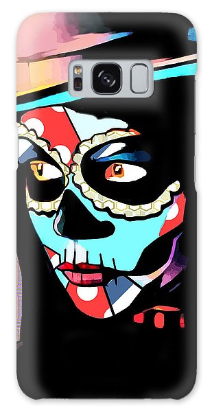 Day Of The Dead Skull Woman Wearing Top Hat Galaxy Case