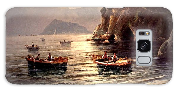 Galaxy Case featuring the painting Day's End And Work Begins In The Gulf Of Naples by Rosario Piazza