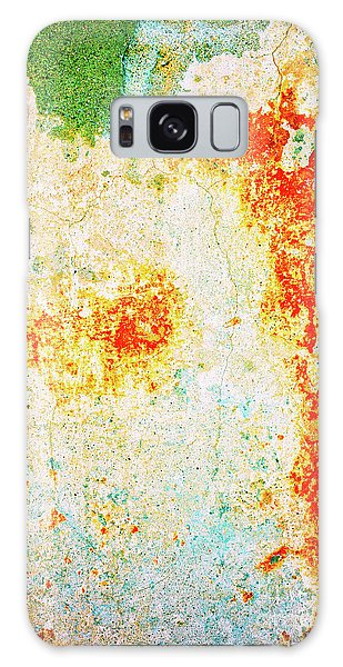 Galaxy Case featuring the photograph Decayed Wall With Orange Paint by Silvia Ganora