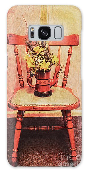 Decorative Galaxy Case - Decorated Flower Bunch On Old Wooden Chair by Jorgo Photography - Wall Art Gallery
