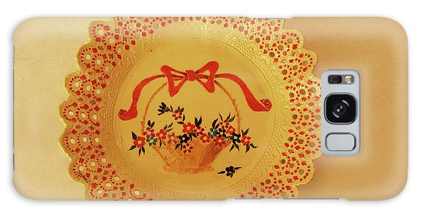 Decorated Plate With A Basket And Flowers Galaxy Case