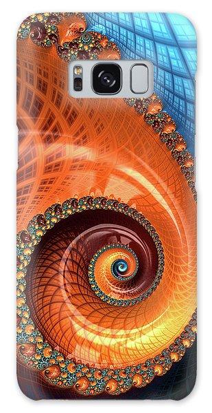 Galaxy Case featuring the digital art Decorative Fractal Spiral Orange Coral Blue by Matthias Hauser