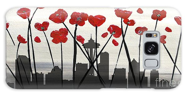 Galaxy Case featuring the painting Decorative Skyline Abstract  Seattle T1115x1 by Mas Art Studio