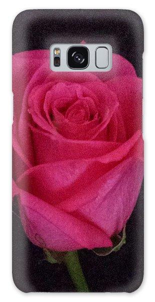 Deep Pink Rose On Black Galaxy Case
