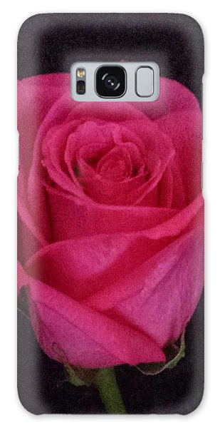 Deep Pink Rose On Black Galaxy Case