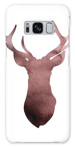 Fall Galaxy Case - Deer Antlers Silhouette Minimalist Painting by Joanna Szmerdt