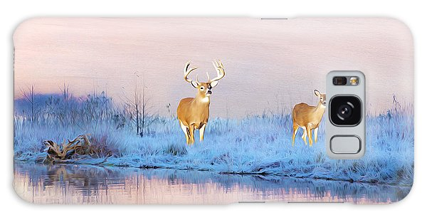 White-tailed Deer Galaxy Case - Deer At Winter Pond by Laura D Young