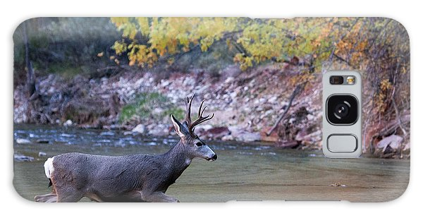 Galaxy Case featuring the photograph Deer Crossing River by Wesley Aston