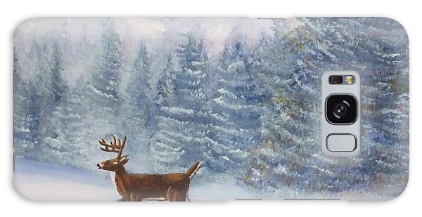 Deer In The Snow Galaxy Case by Denise Fulmer