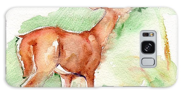 Deer Painting In Watercolor Galaxy Case by Maria's Watercolor