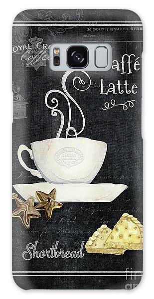 Deja Brew Chalkboard Coffee 2 Caffe Latte Shortbread Chocolate Cookies Galaxy Case by Audrey Jeanne Roberts