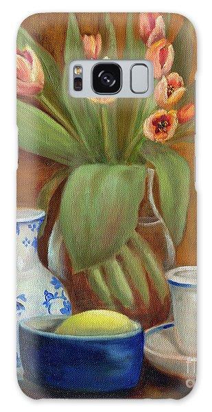 Delft Vase And Mini Tulips Galaxy Case
