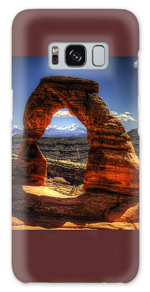 Delicate Arch Framing La Sal Mountains Galaxy Case