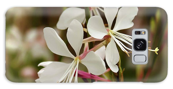 Delicate Gaura Flowers Galaxy Case