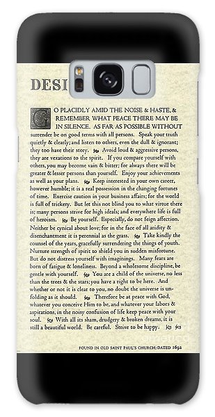 Peace Galaxy Case - Desiderata Poem On Parchment by Desiderata Gallery