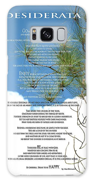 Desiderata Poem Over Sky With Clouds And Tree Branches Galaxy Case