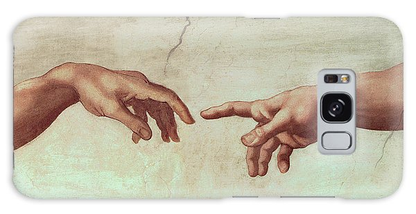 Creation Galaxy Case - Detail From The Creation Of Adam by Michelangelo