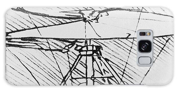 Pen And Ink Drawing Galaxy Case - Detail Of A Design For A Flying Machine by Leonardo Da Vinci