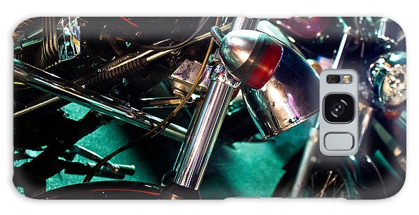 Detail Of Chrome Headlamp On Vintage Style Motorcycle Galaxy Case