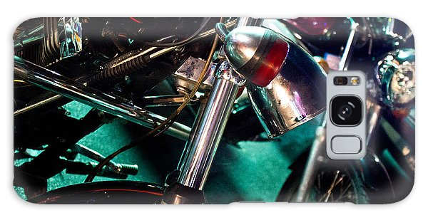 Detail Of Chrome Headlamp On Vintage Style Motorcycle Galaxy Case by Jason Rosette
