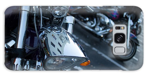 Detail Of Shiny Chrome Headlight On Cruiser Style Motorcycle Galaxy Case by Jason Rosette