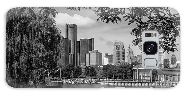 Detroit Skyline And Marina Black And White  Galaxy Case
