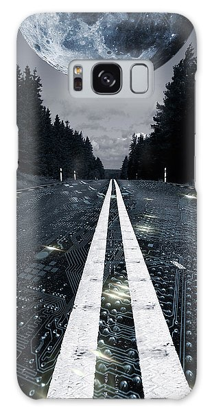 Digital Highway And A Full Moon Galaxy Case by Christian Lagereek
