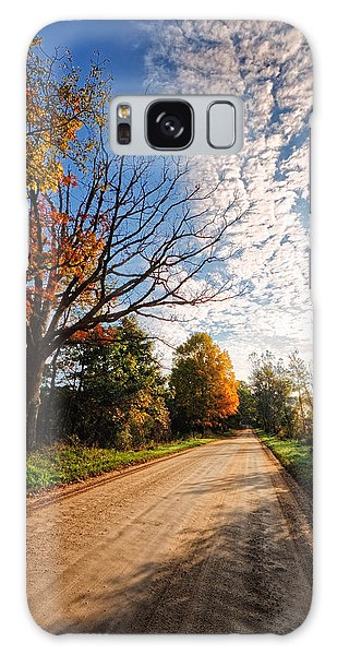 Galaxy Case featuring the photograph Dirt Road And Sky In Fall by Lars Lentz