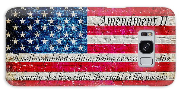 Distressed American Flag And Second Amendment On White Bricks Wall Galaxy Case