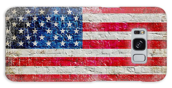 Distressed American Flag On Old Brick Wall - Horizontal Galaxy Case