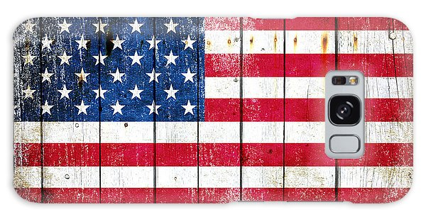 Distressed American Flag On Wood Planks - Horizontal Galaxy Case