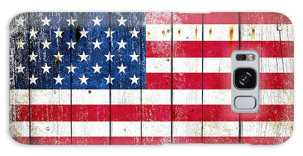 Distressed American Flag On Wood Planks - Horizontal Galaxy Case