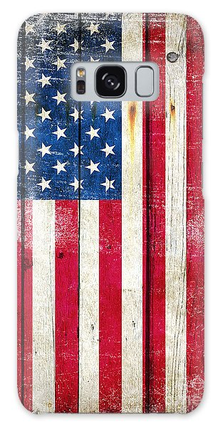 Distressed American Flag On Wood - Vertical Galaxy Case