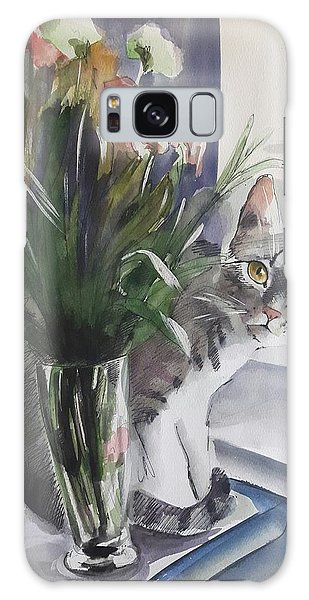 Do You See Me? Pet Portrait In Watercolor .modern Cat Art With Flowers  Galaxy Case