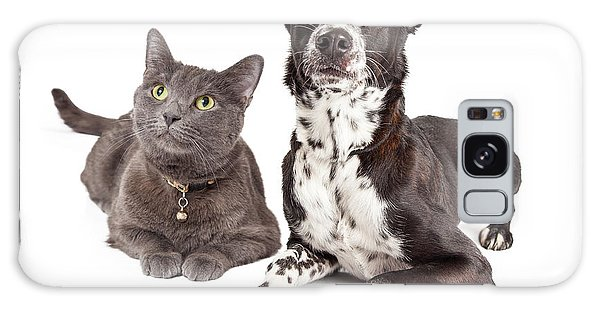 Dog And Cat Laying Looking Up Galaxy Case