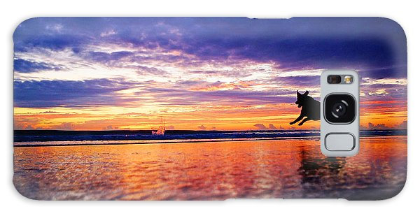 Dog Chasing Stick At Sunrise Galaxy Case