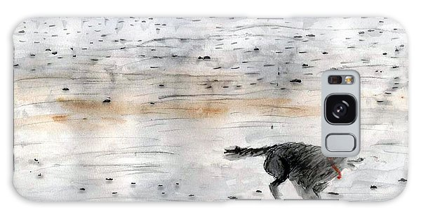 Dog On Beach Galaxy Case